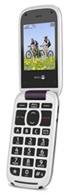 Doro PhoneEasy 613 Mobiltelefon im eleganten Klappdesign (2 MP Kamera, große Tasten und Display, Notruftaste) aubergine-weiß - 1